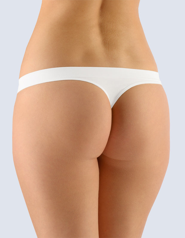 Thongs with a narrow waist Natural Bamboo White color