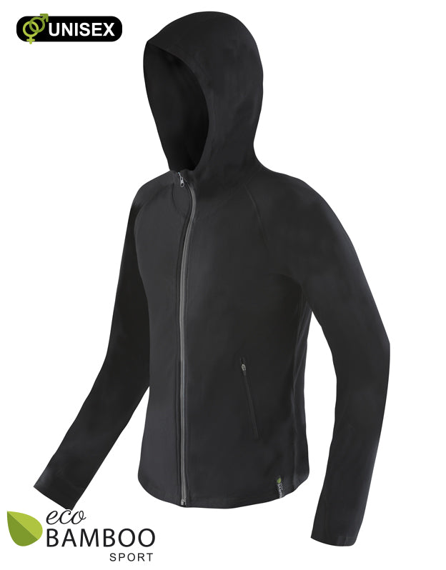 Zip Up Hoodie Black Unisex Eco Bamboo Sport
