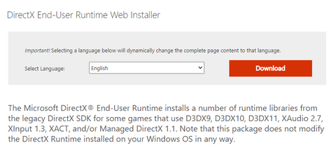 Download Last DirectX Runtime or update it