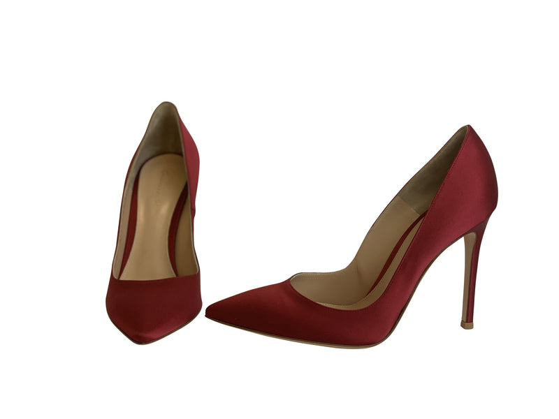 Gianvito Rossi Womens 105 Red Suede Pointed Toe Heel Pumps - ACCESSX