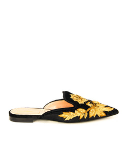 ALBERTA FERRETTI BLACK/GOLD FLAT SHOES - ACCESSX