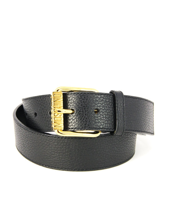 Moschino Embossed Black Leather Belt - ACCESSX