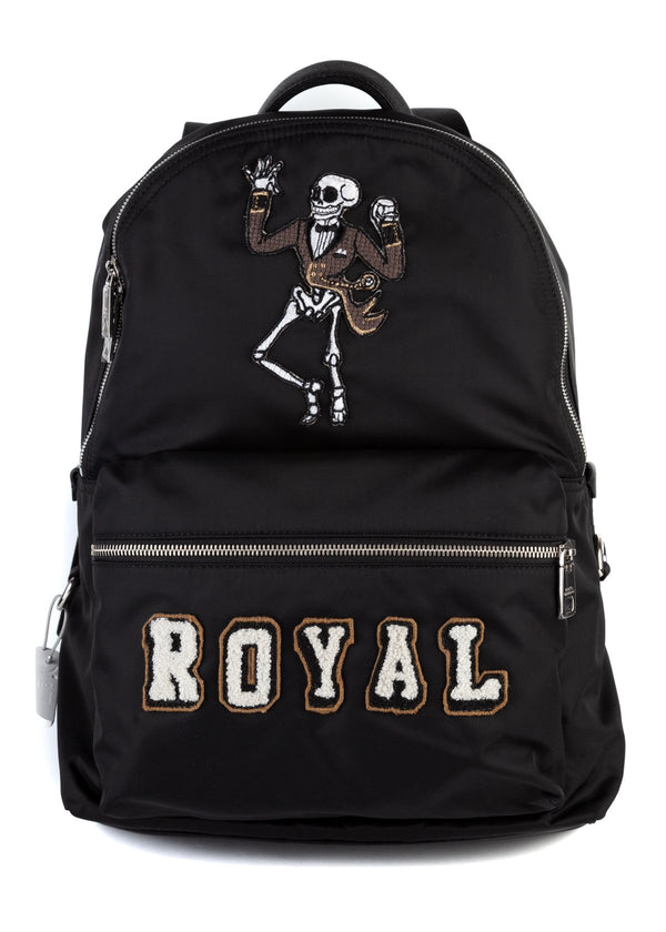 Dolce & Gabbana Mens Black Royal Skeleton Patch Volcano Backpack - ACCESSX