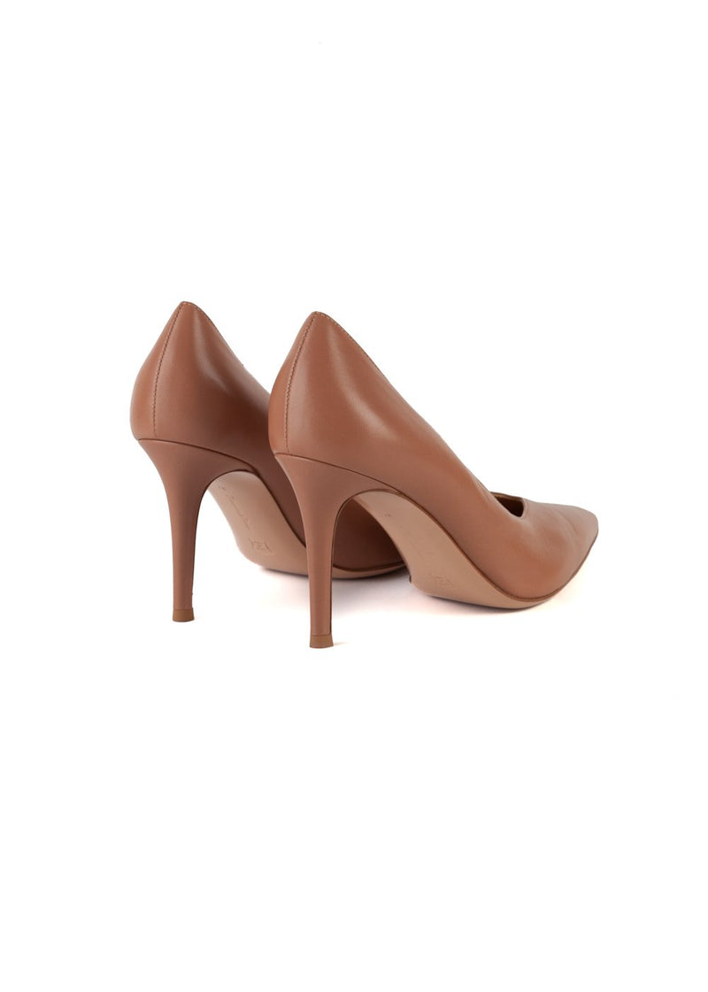 Gianvito Rossi Womens 85 Nude Leather Pointed Toe Pumps - ACCESSX