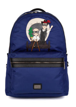 Dolce & Gabbana Mens Blue Designer Patch Vulcano Backpack - ACCESSX
