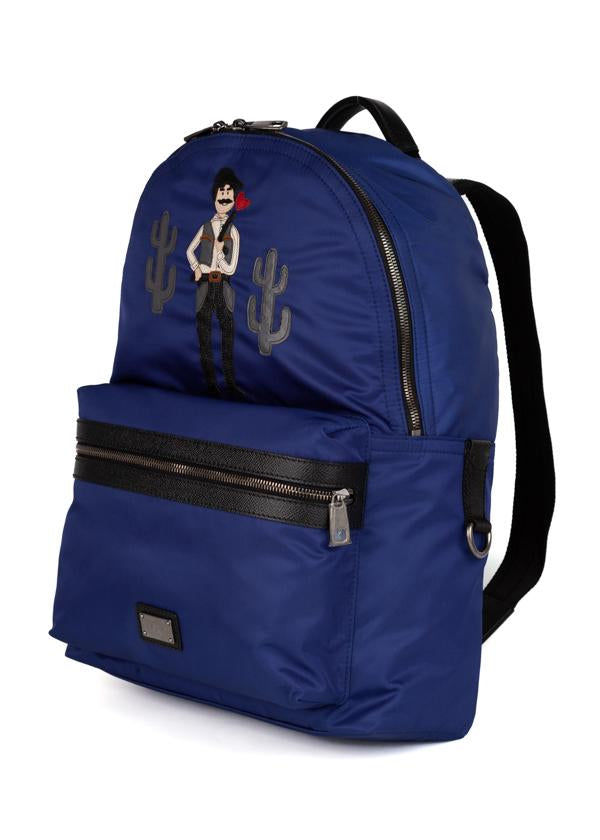 Dolce & Gabbana Mens Blue Western Patch Vulcano Backpack - ACCESSX