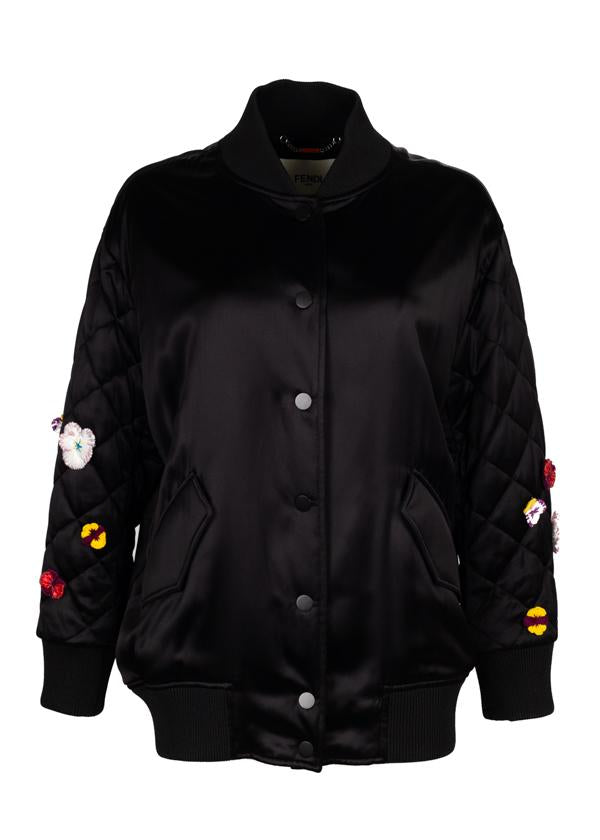 Fendi Womens Black Floral Embroidered Bomber - ACCESSX