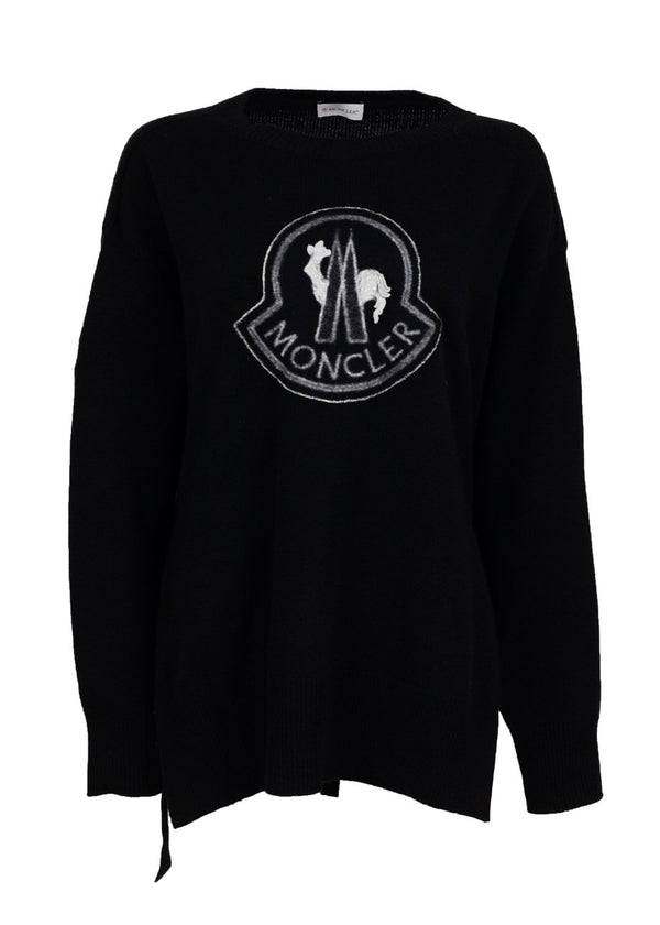 Moncler Womens Black Maglione Belted Logo Jumper - ACCESSX