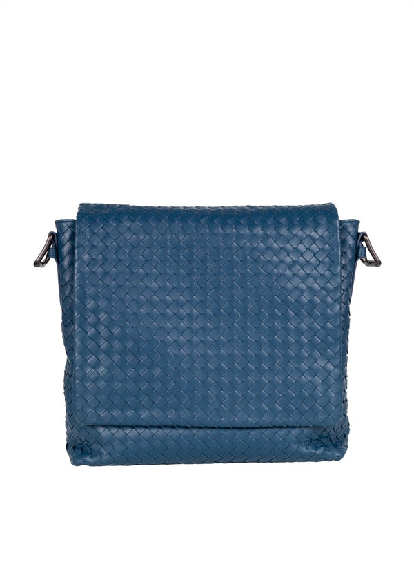 Bottega Veneta Mens Denim Intrecciato Messenger Bag - ACCESSX