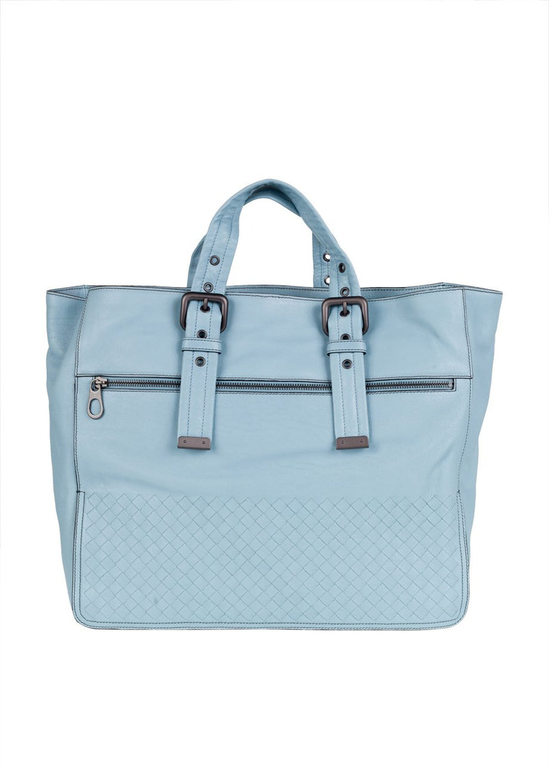 Bottega Veneta Mens New Light Blue Calf Tote - ACCESSX
