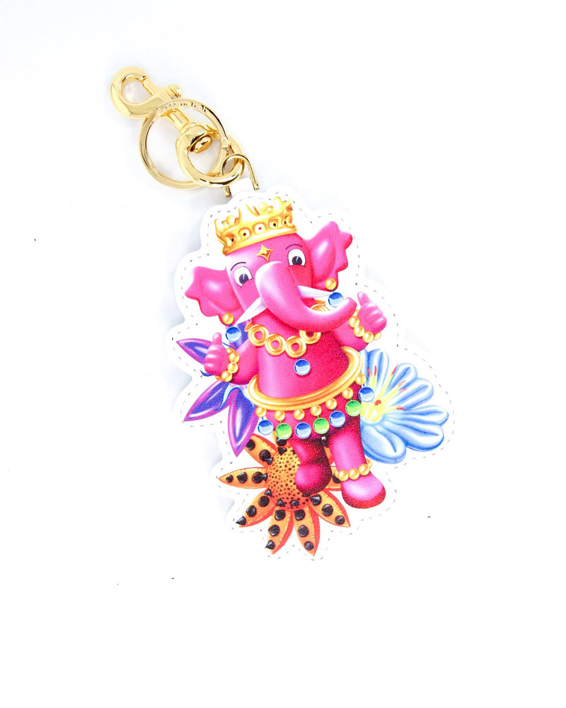 Moschino Printed Leather Elephant Keyring - ACCESSX