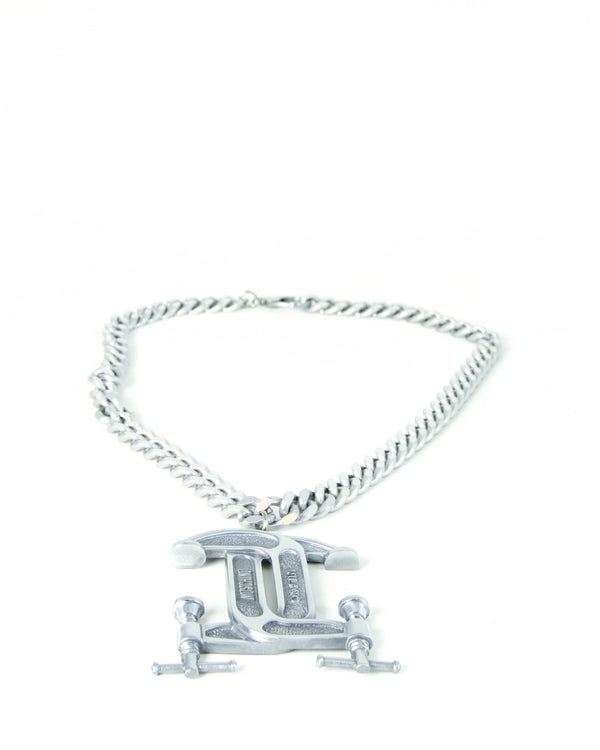 Moschino Silver-tone C Clamp Necklace - ACCESSX