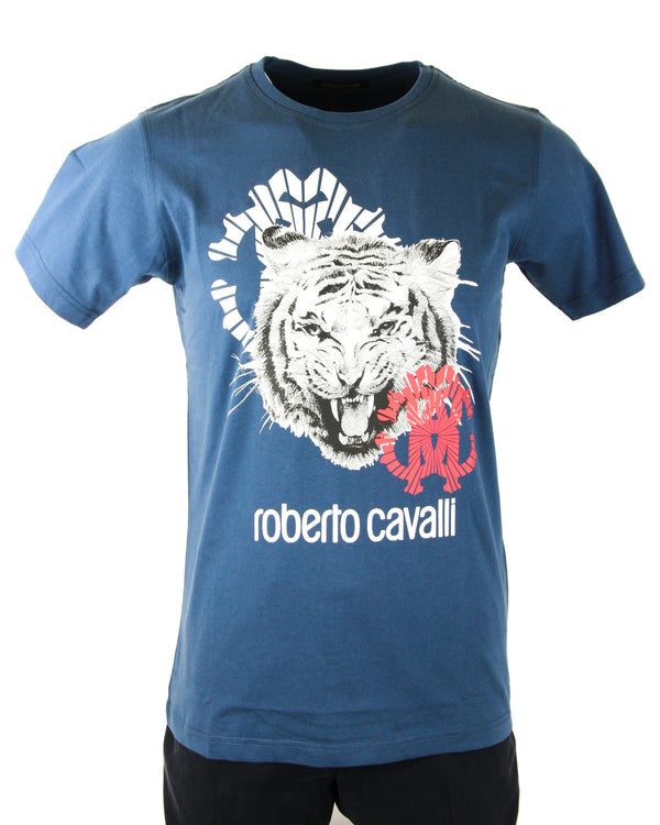 Roberto Cavalli Logo Lion Graphic Tee in Blue