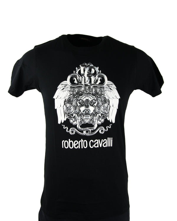 Roberto Cavalli Winged Lion Graphic Tee in Black