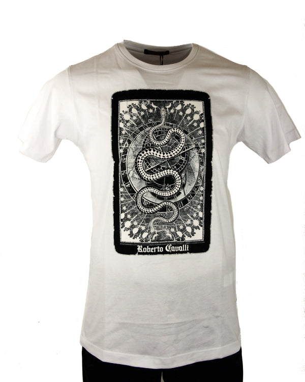 Roberto Cavalli Tarot Card Graphic Tee in White