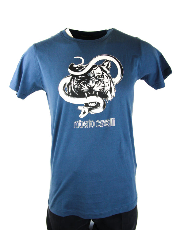 Roberto Cavalli Snake Lion Graphic Tee in Blue