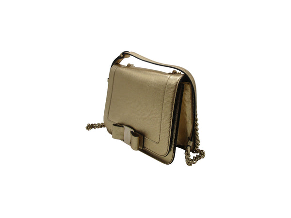 Salvatore Ferragamo Vara Shoulder Bag In Gold