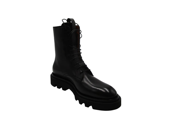 Givenchy Leather Lace Up Combat Boots in Black