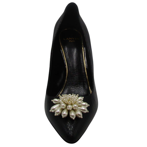 Lanvin Black Pearled Leather Pump