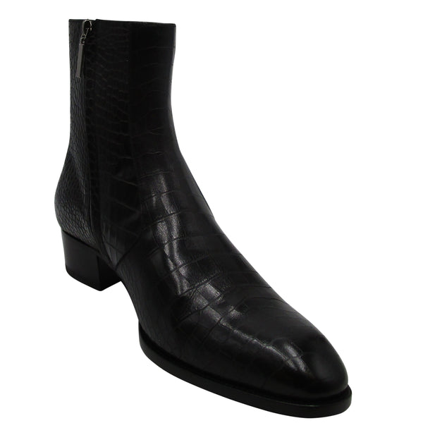 Yves Saint Laurent Men's Wyatt Croc-embossed Leather Boots