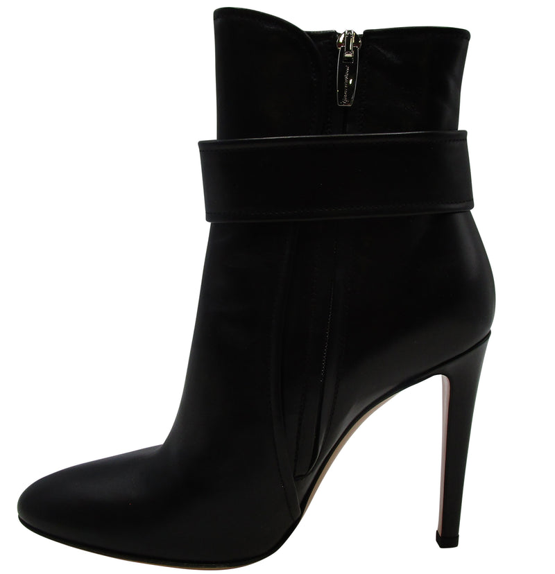 Gianvito Rossi Shiny Black Buckle Ankle Bootie