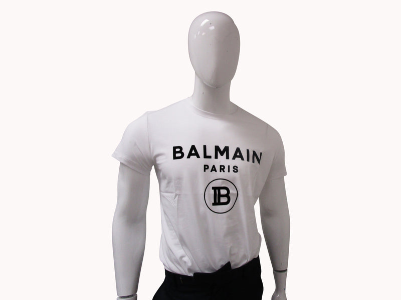 BALMAIN WHITE COTTON T SHIRT - ACCESSX