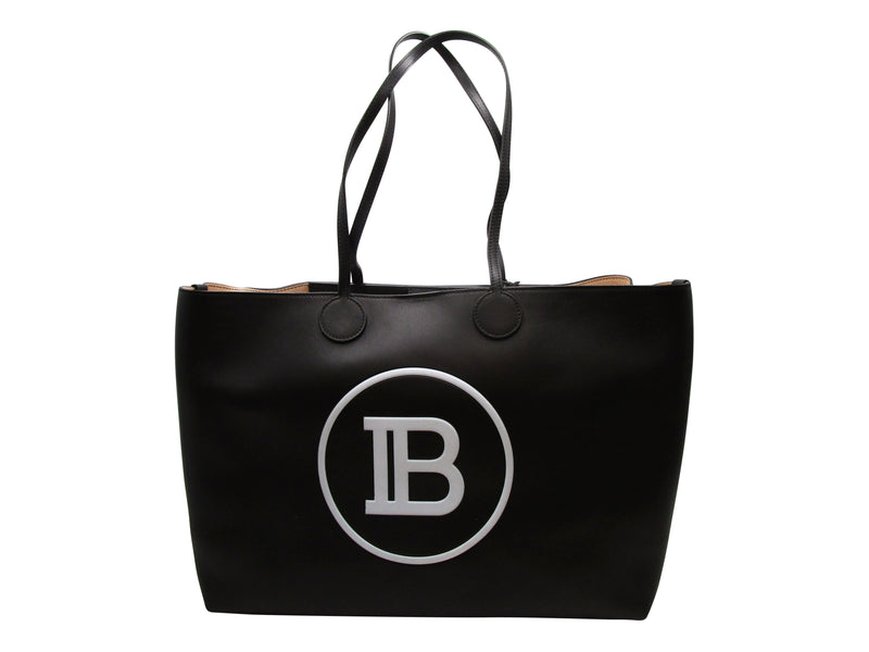 BALMAIN LEATHER TOTE BAG WITH B LOGO - ACCESSX