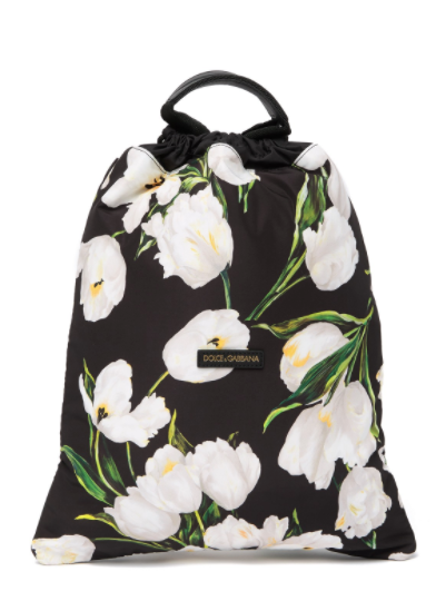 Dolce and Gabbana Mens Drawstring Bag In Floral Print - ACCESSX