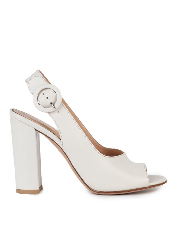 Gianvito Rossi Womens 105 Ivory Leather Slingback Pumps - ACCESSX