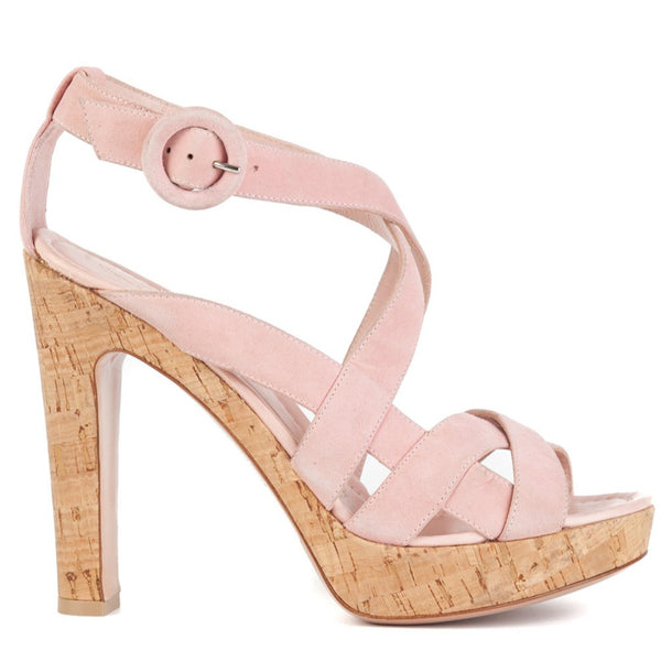 Gianvito Rossi 120 Pink Suede Strappy Platform Sandals - ACCESSX