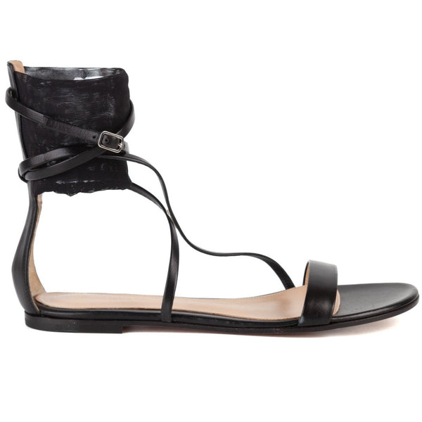 Gianvito Rossi Black Leather Strappy Mesh Flat Sandals - ACCESSX
