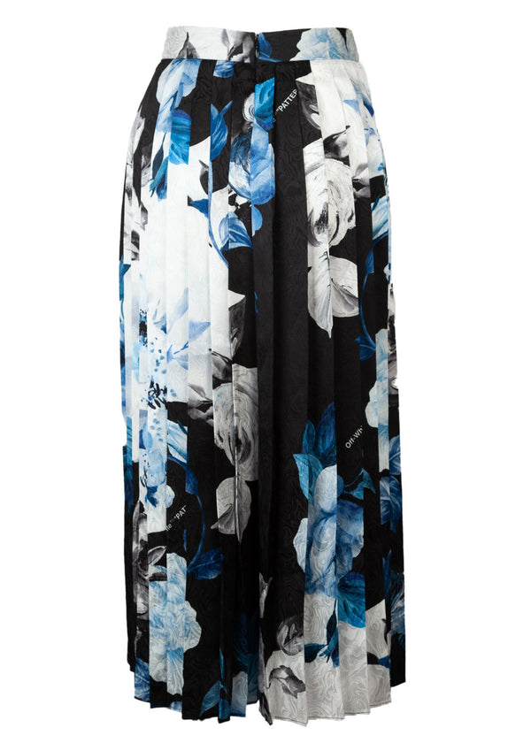 Off-White Womens Black Floral Print Silk Pleated Skirt - ACCESSX