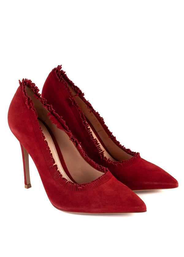 Gianvito Rossi Womens 105 Red Suede Fringe Pumps - ACCESSX
