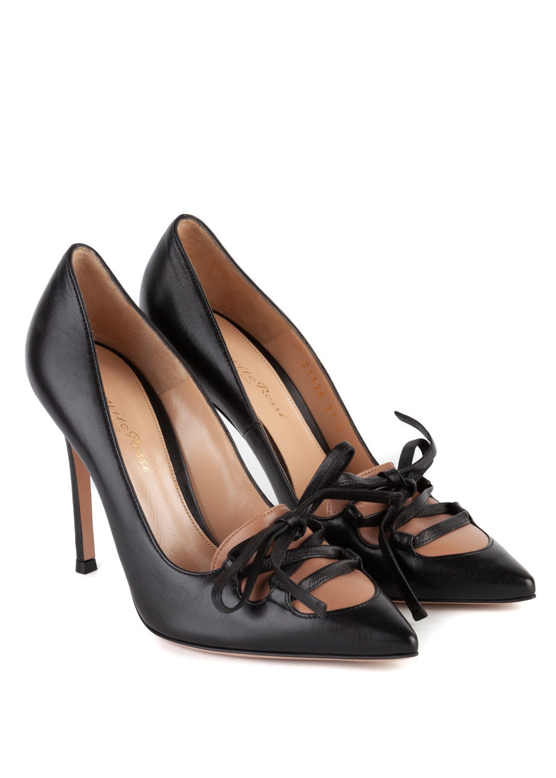 Gianvito Rossi Womens 105 Black Leather Lace Front Pumps - ACCESSX