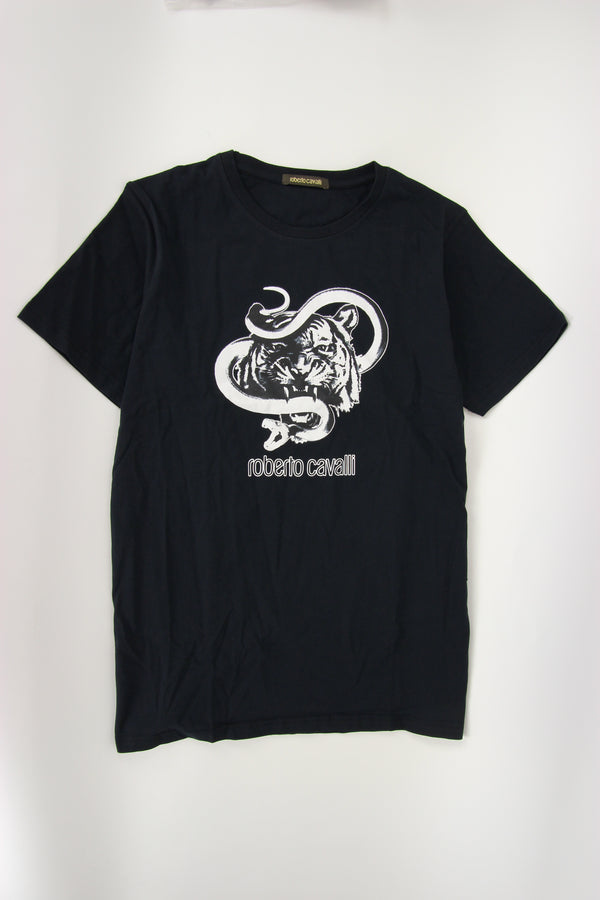 Roberto Cavalli Snake Lion Graphic Tee in Black