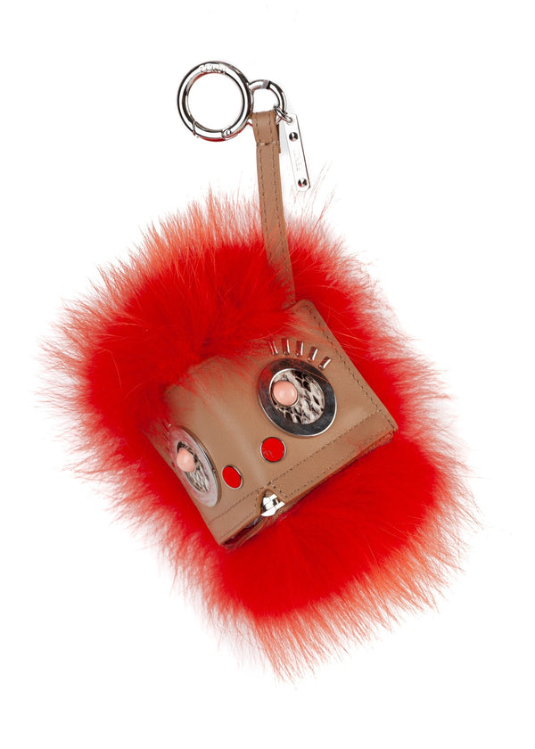 Fendi Womens Orange Hypno Bugs Leather Fur Keychain Bag Charm - ACCESSX