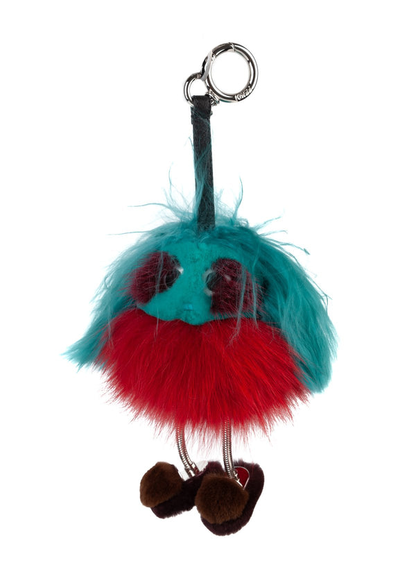 Fendi Womens Aqua Red Dad Mink Fur Keychain Ring Bag Charm - ACCESSX