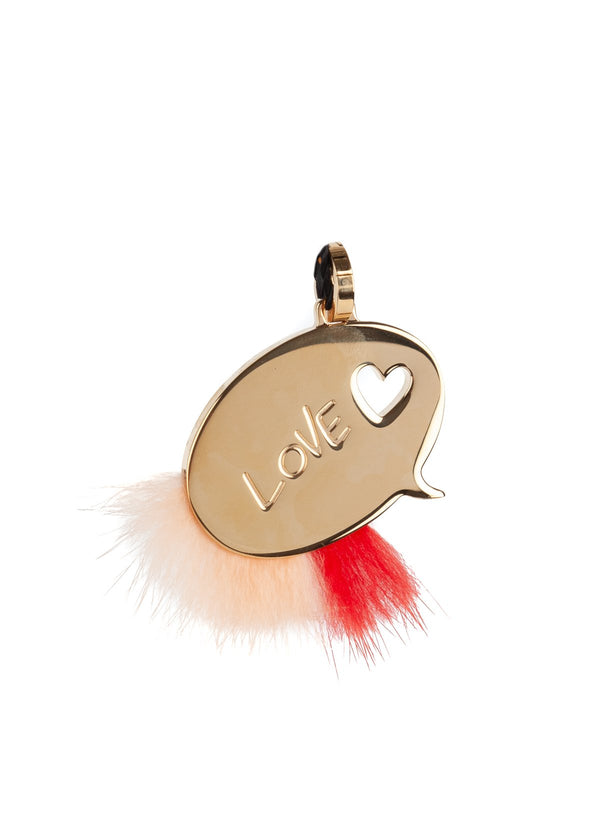 Fendi Womens Gold Metal Orange Mink Fur ABClick Bag Charm Key Ring - ACCESSX