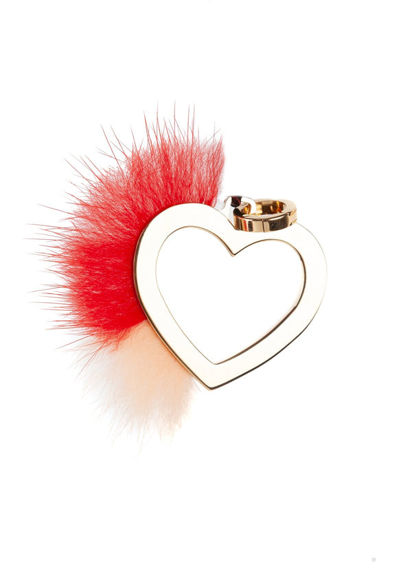 Fendi Womens Gold Metal Heart Orange Mink Fur ABClick Bag Charm Key Ring - ACCESSX