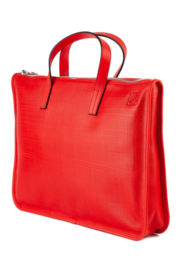 Loewe Mens Red Textured Leather Briefcase - ACCESSX