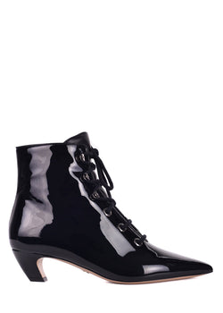 Dior Womens Black Patent Pony-style Calfskin Ankle Boots - ACCESSX