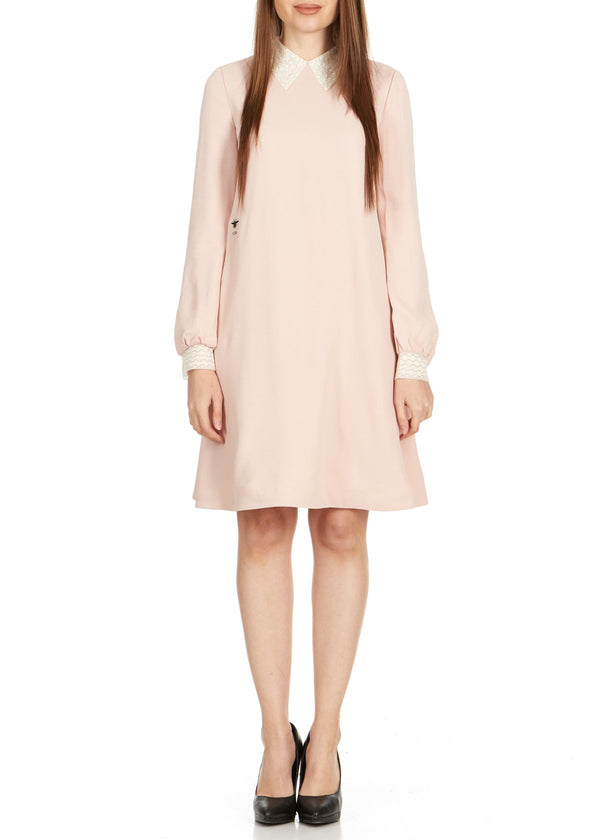 Dior Womens Pink Lace Collar Long Sleeve Dress - ACCESSX