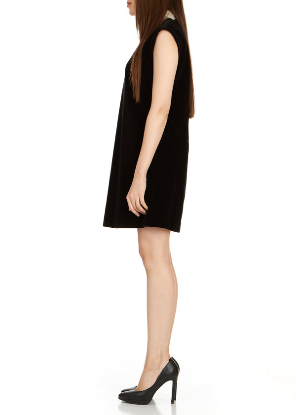 Dior Womens Black Lace Collar Sleeveless Dress - ACCESSX