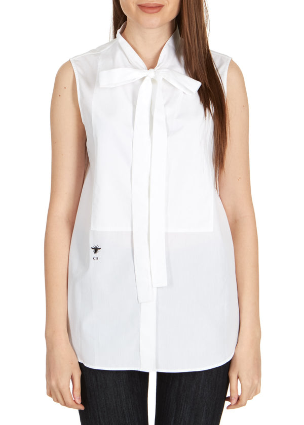 Dior Womens White Cotton Neck Tied Front Sleeveless Blouse - ACCESSX