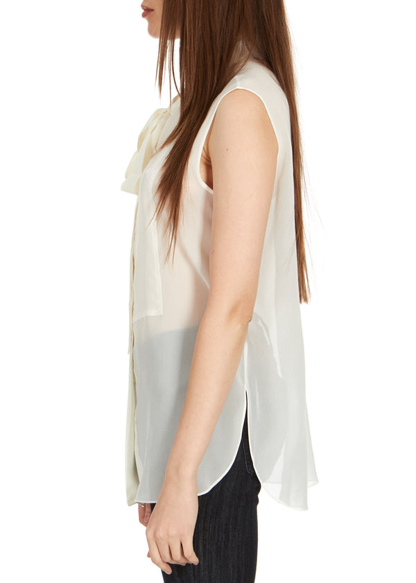 Dior Womens Ivory Silk Neck Tied Front Sleeveless Blouse - ACCESSX
