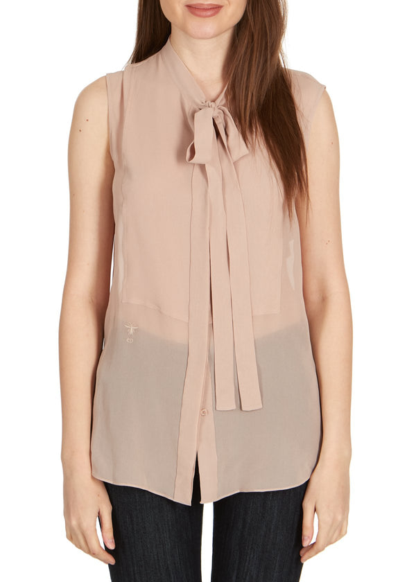 Dior Womens Rose Silk Neck Tied Front Sleeveless Blouse - ACCESSX