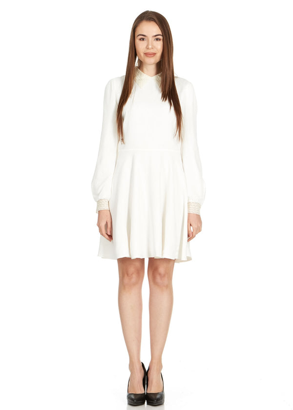 Dior Womens White Lace Collar Long Sleeve Dress - ACCESSX