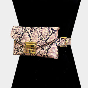 Snake Skin Pattern Faux Leather Fanny Pack