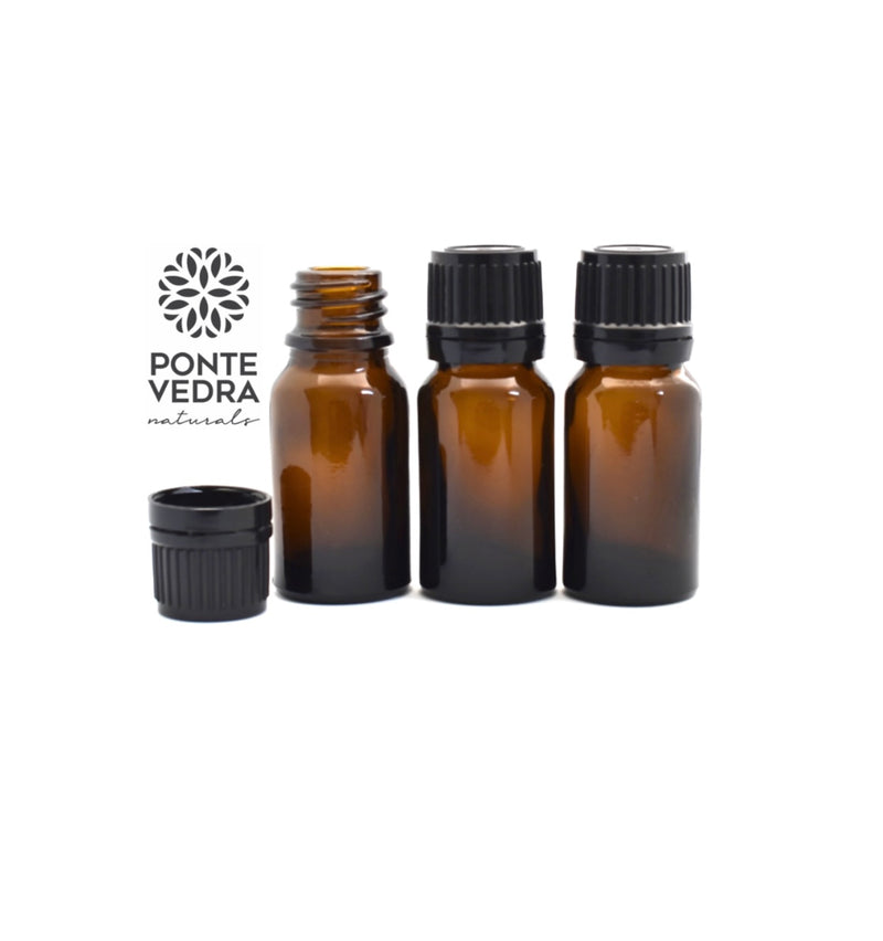 Bottle - Amber Boston Round 10ml (w/black cap and reducer)