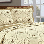 3 Piece Quilted Throw Bedspread Polyester Bedding Set Beige